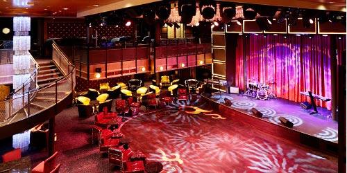 El Music Hall, un área de conciertos en vivo, verdadero rock. Un barco no es para viejos ni para familias con bebitos. Hay para los jóvenes tecnologizados.